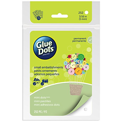Glue Dots Mini Adhesive Dot Sheets, Contains 252 (.19 Inch) Diameter Adhesive Dots -