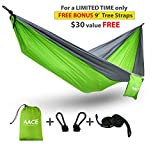 AACE Camping Parachute Hammock INCLUDES 2 Nylon Ropes, 2 Carabiners, Carrying Pouch, and BONUS Tree Straps!
