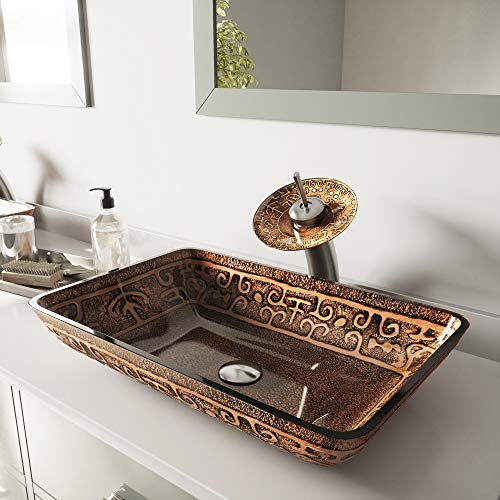 - VIGO Rectangular Golden Greek Glass Vessel Bathroom Sink and Waterfall Faucet with Pop Up, Brushed Nickel