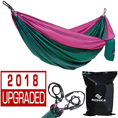 Price comparison product image Camping Hammock – Double Hammock – Portable Hammock – Best Outdoor Travel Hiking Patio Beach Hammock - Parachute Lightweight Nylon Hammock – Two Person Hammock – Large Hammock - Hammock with straps