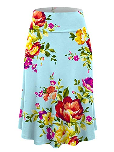 LL WB2172 Women's Floral Print Lightweight Flare Midi Pull On Closure Skirt L Mint