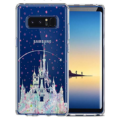 Samsung Galaxy Note 8 Case, Unov Clear with Design Soft TPU Shock Absorption Slim Embossed Pattern Protective Back Cover for Note 8 (Watercolor Castle)