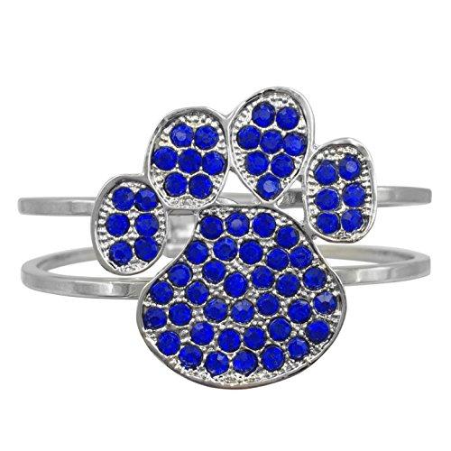 Paw Print Rhinestone Silver Tone Hinged Statement Bracelet (Blue)