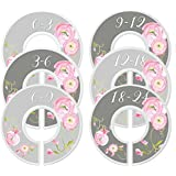 Mumsy Goose Nursery Closet Dividers, Closet Organizers, Baby Girl Clothes Organizers Pink Grey Floral