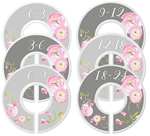 Mumsy Goose Nursery Closet Dividers, Closet Organizers, Baby Girl Clothes Organizers Pink Grey Floral