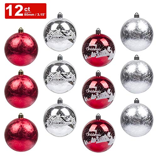 KI Store Christmas Balls Ornament 12ct Shatterproof 3.15-Inch Tree Ball Red and Silver Hand Painting Decorations for Xmas Trees, Parties, and Holiday
