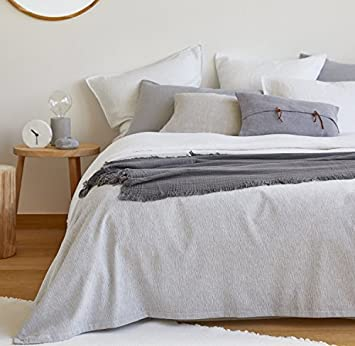 Zara Home Melange Effect Vielseitig Tagesdecke King Grau Amazon De