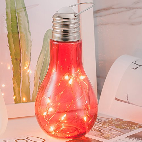 ModestLuxury Newest Glass Ball Table Lamps Hanging Starry Led Night Light Bulb Design Bedside Baby Nursery Lamp Room Decor for Women Kids Toy Wedding Party Decorations Christmas (Red) ()