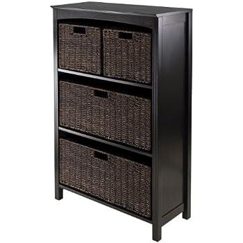 Winsome wood leo wood 4 tier shelf with 5 for Amazon small bookshelf