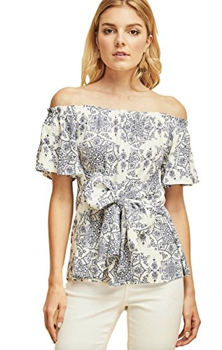 - Entro Women's Bohemian Off Shoulder Top Short Flutter Sleeves Front Waist Tie (Off White, Large)