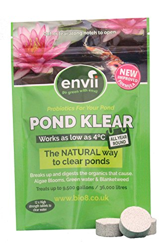 Algae Cleaner Control (Envii Pond Klear Tablets – Pond Algae Control Cleaner & Remover Eliminates Pond Green Water Leaving Ponds Clear – Bacteria Treatment Algaecide Safe for Fish (Treats Up To 9,500 Gallons))