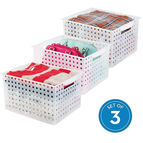iDesign Modulon Plastic Storage Organizer Basket with Handle for Bathroom, Health, Cosmetics, Hair Supplies, Beauty Products, 14.25 x 11.25 x 8.5, Set of 3 - Frost White