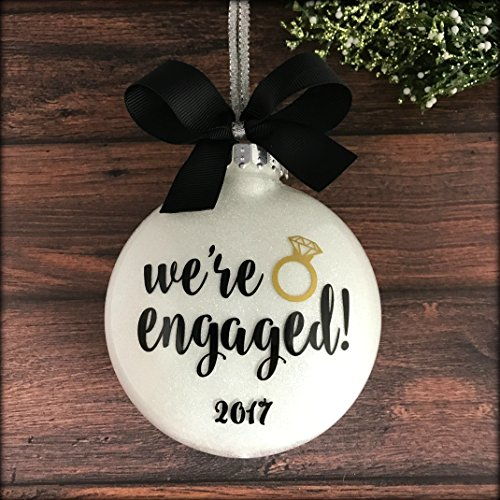 [Engaged Ornament, Engagement Christmas Ornament, Personalized Engagement Ornaments] (Couple Personalized Christmas Ornament)