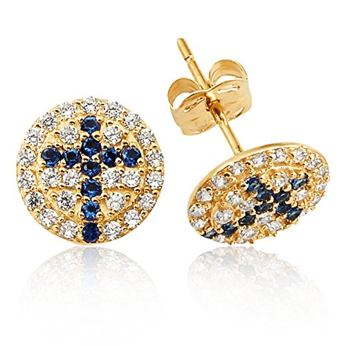 (Circle CZ Pave Earrings with Blue Cross Design Stud Earrings in 14K Yellow Gold for Women and Girls)