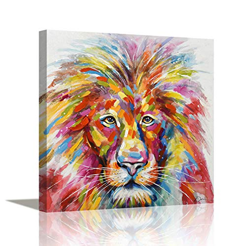 Pi Art Original Design Canvas Painting Abstract Colourful Lion Head Hand Painted on Canvas Print Contemporary Art for Wall (24x24 inch, Lion)
