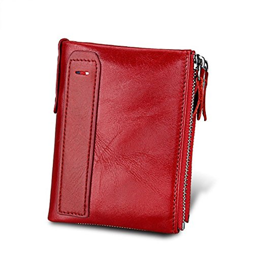 Baellerry Women RFID Blocking Wallet Small Vintage Cowhide Leather Wallet For Women (Red)
