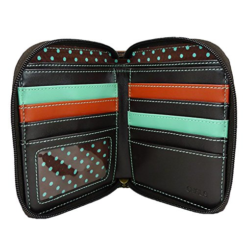 Lady 8 Slots Wristlet Leather Bug Pu Sturdy Around Credit Zip Wallet Teal Chala Card FqpC4PFT