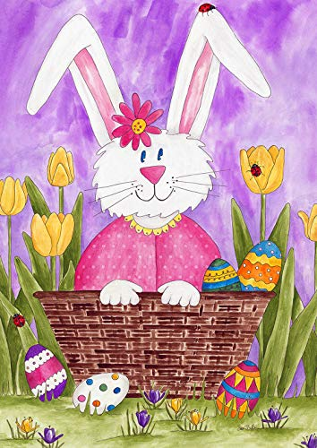 Toland Home Garden 1012307 Long Eared Bunny 28 x 40 Inch Decorative, Spring Easter Flower Basket, House Flag