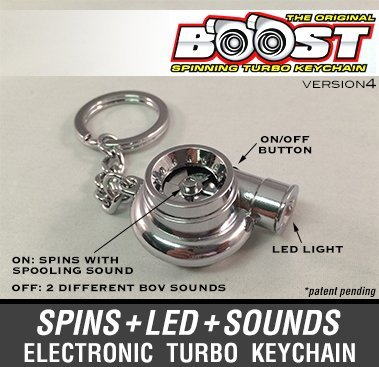 Boostnatics Electronic Spinning Turbo Keychain Keyring with Sounds + LED! - Chrome - Version 4 (V4) 6244897
