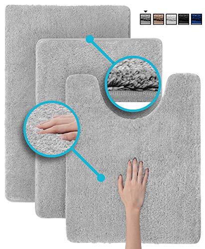 Luxe Rug Light Gray Plush Bathroom Rugs Bath Shower Mat Set w Non Slip Microfiber Super Absorbent Rug Alfombras para Baños (3, Light Grey Blue)