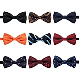 two color ties - AVANTMEN 9 PCS Pre-tied Adjustable Bowties for Men Mixed Color Assorted Neck Tie Bow Ties (9 Pack, Style 2)
