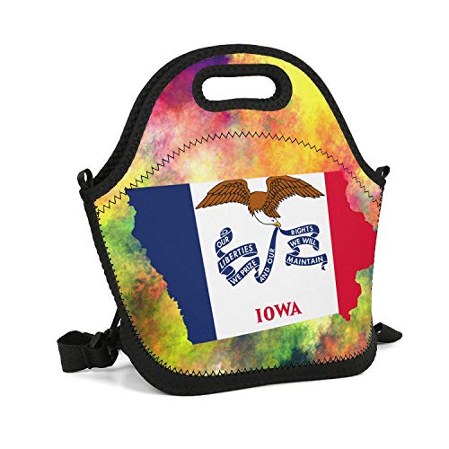 UHOMEW Lunch Bag Lunch Tote Lunch Box Handbag Iowa State Flag Map for Men Women Adults - State Kit Iowa Party
