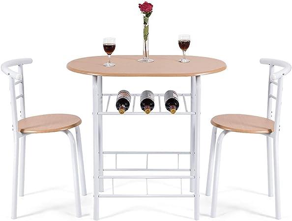COSTWAY Juego de Mesa y 2 Sillas de Comedor de Madera y Metal con Vino Estante para Cocina (Blanco): Amazon.es: Hogar