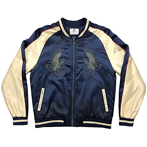 Standard Issue Embroidered Tonal Eagle Souvenir Bomber Varsity Jacket - Navy/Gold by Standard Issue