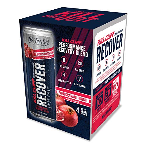 Kill Cliff Electrolyte Recovery Drink, Pomegranate Punch, 12 Ounce, 4 Count; Low Cal, No Sugar