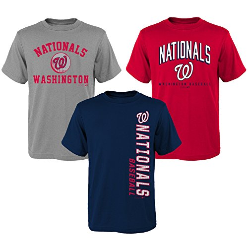 OuterStuff MLB Youth Boys 8-20 Nationals 3Piece Tee Set, M(10-12), (Mlb Shirt)