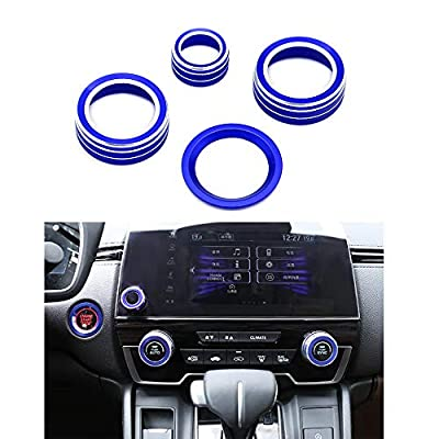 Thor-Ind 4pcs Aluminum Interior Console Trim for Honda CRV CR-V 2020 2020 2020 AC Air Conditioning Knob Start Stop Button Navigation Volume Knob Cover Trim (Blue): Automotive