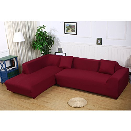 JIAN YA NA Stretch Sofa Covers Polyester Spandex Fabric Slipcover 2pcs Polyester Fabric Stretch Slipcovers + 2pcs Pillow Covers for Sectional Sofa L Shape Couch (Wine Red) - Leather Sectional Sofa Couch