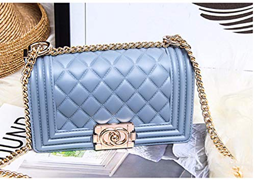 Chain Purse Handbags for Women Jelly PVC Quilted Shoulder Bag Crossbody Purse Blue