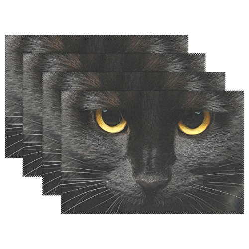 Yochoice Hipster Halloween Black Cat Face Placemat Plate Holder Set of 4, Stylish Polyester Table Place Mats Protector for Kitchen Dining Room 12