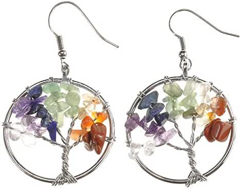 JOVIVI Women Copper Wire Wrap Gemstone Crystal Quartz Chip Bead Tree Of Life Hook Earrings Gift w/Box