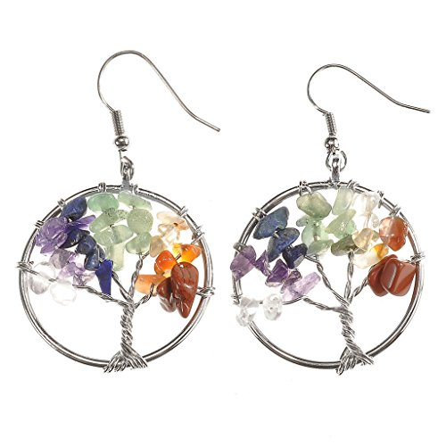 JOVIVI Copper Gemstone Crystal Earrings