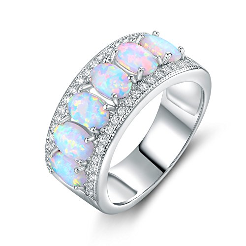 Barzel Oval-Cut Created Fire Opal & Cubic Zirconia Ring (Comes in Rose & White Gold Plated) (White Gold, 6)