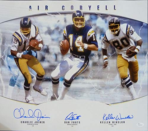 San Diego Chargers Hall Of Fame Autographed Signed 16x20 Photo Joiner, Winslow, Fouts - JSA Certified