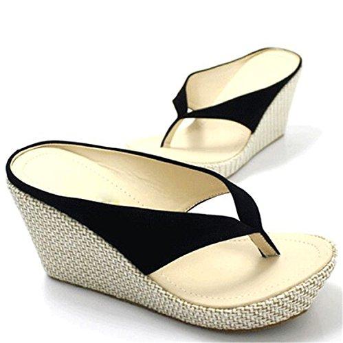 Shoes Sandals New Women High Heels Flip Flops Fashion Platform Wedges Sandals Bohemia Beach Slippers Black - Charles Heel High Sandals