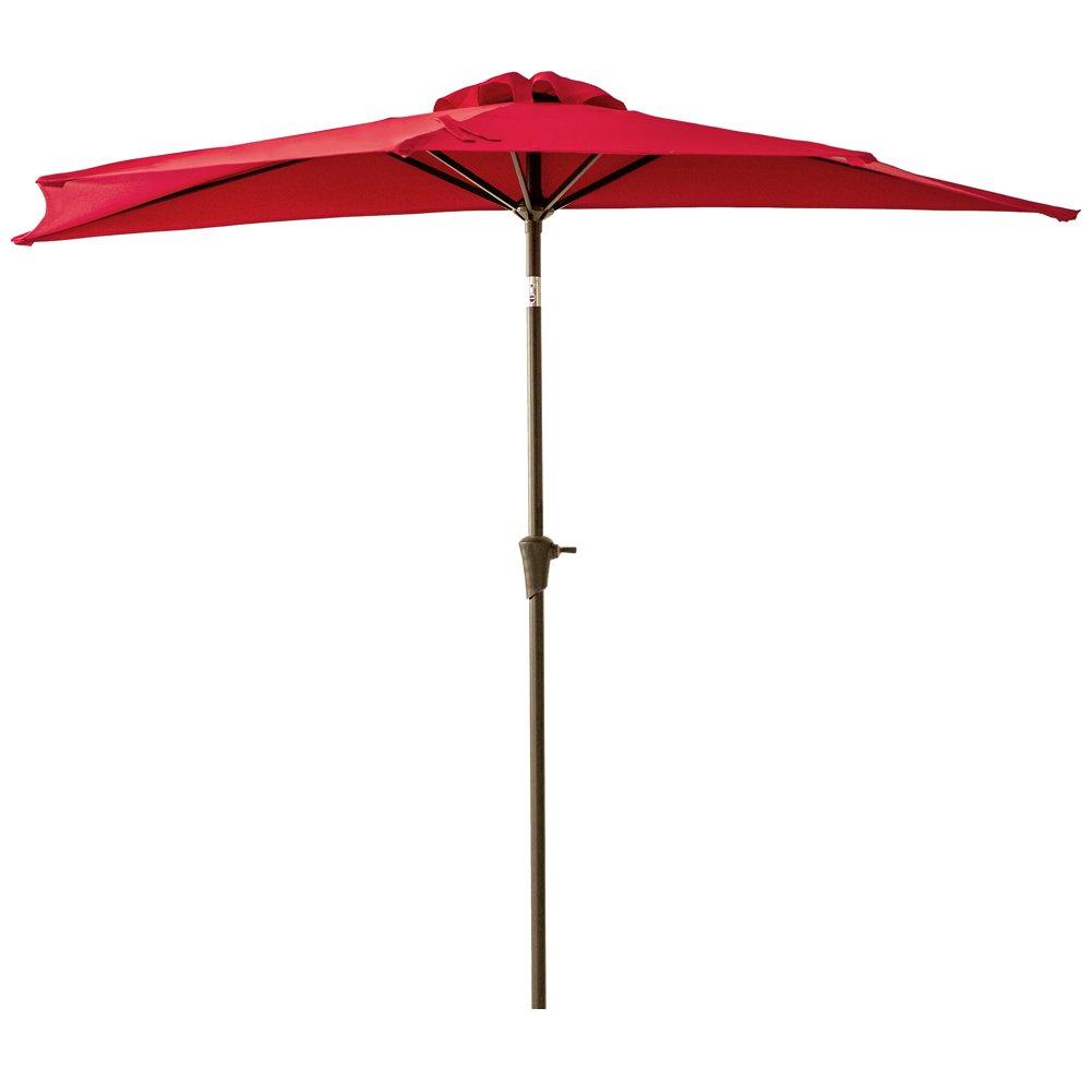 FLAME&SHADE 9 feet Half Round Outdoor Patio Umbrella with Crank Lift, Push Button Tilt, Red
