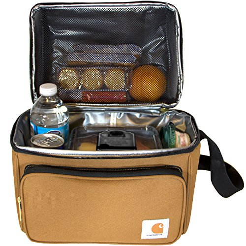 Front Zip Single Pocket - Carhartt Deluxe Dual Compartment Insulated Lunch Cooler Bag, Carhartt Brown