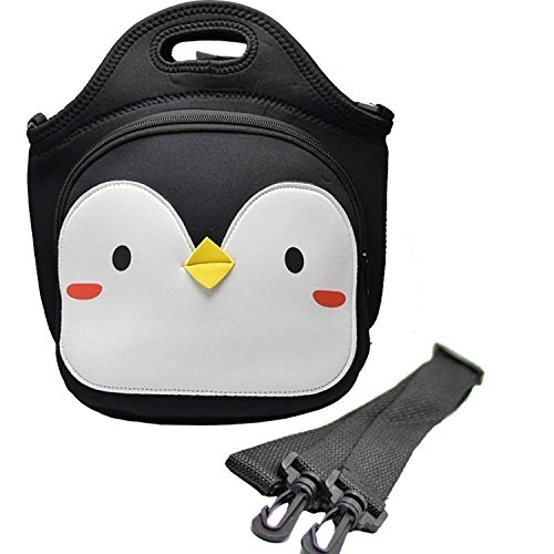 Kids Lunch Tote - MoreTeam Kids Lunch Bag, Insulated Neoprene Large Cute Lunch Tote Box for Kids, Women with Adjustable Shoulder Strap, Compact, Reusable, Easy to Wash, Penguin