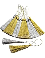 30 Pieces 13cm Silky Handmade Soft Craft Mini Tassels with Loops for Jewelry Making, DIY Projects, Bookmarks, Keys, Curtains Gold & Silver
