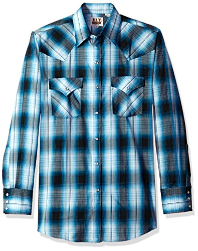 - Ely & Walker Men's Long Sleeve Plaid Western Shirt, Turquoise, Medium