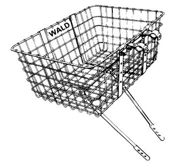 Front Bike Basket - Wald 157 Front Giant Delivery Bicycle Basket (21 x 15 x 9, Black)