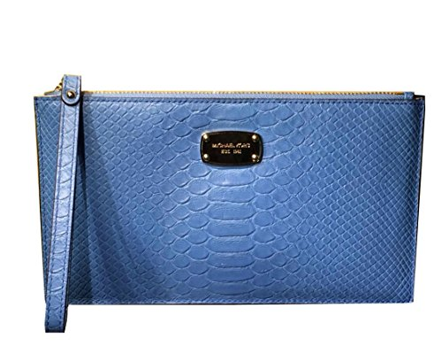 Michael Kors Jet Set Item Large Zip Clutch Embossed Leather Wristlet, Sky Blue by Michael Kors