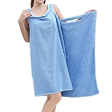 NONMON Women Super Soft Wearable Water Absorbent Microfiber Sauna Spa Beach Swim Bath Towel Bathrobe Wrap - Blue