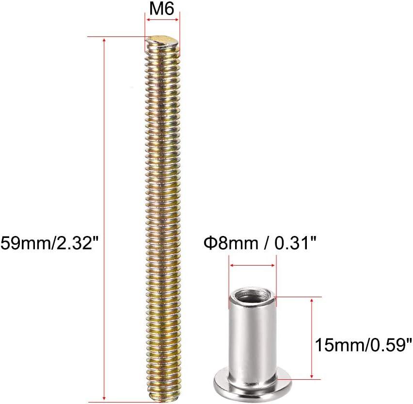 sourcing map acero al carbono Tornillo para tornillos de 5//16 4 juegos di/ámetro del orificio 8 mm macho M6 x 59 mm hebilla de cintur/ón de fijaci/ón de cuero