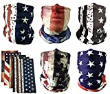 Motorcycle Outdoor Face Mask: PACK of 5 Microfiber Polyester Multifunctional Seamless Headwear (Bundle5: Flags)