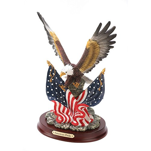 Patriotic Eagle In Flight Statue Figurine American Flag American Pride (Eyewear Ella)